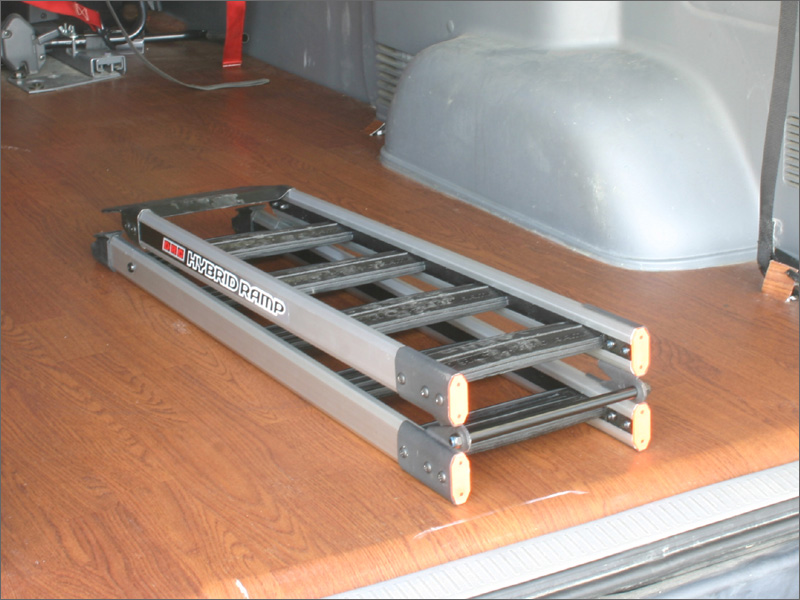 Folding ramp saves space in your van or truck.